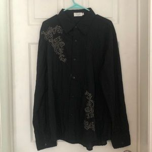 Black long sleeve embroidered button up